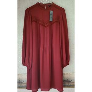 NWT Ann Taylor | Burgundy Long Sleeve Petite Dress